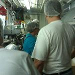 You know you're behind the scenes if you have to wear a hairnet.