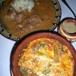 Goulash (back) and lamb/potato/pea casserole (front)