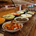 One of four islands of lunch foods at buffet.