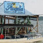 Hotel Angela terrace/dock/restaraunt over the water