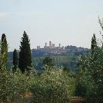 San Gimignano from the poolside