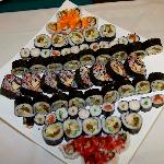 Sushi platter on wedding reception table