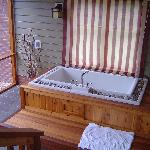 The japanese soaking tub in the screened porch