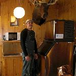 my boyfriend posing with the poor dead moose. one thing i don't like about the west. :(