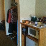 closet area, microwave & frig