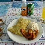 My lunch of boneless chicken roti.
