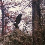 a statute of an eagle in the park