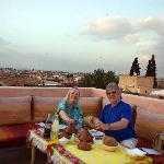The Author and Partner with their first night roof top supper