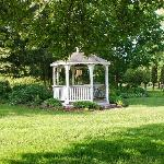 Gazebo with picnic table & chairs to enjoy the outdoors & a bottle of wine