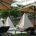 Little tents by the poolside