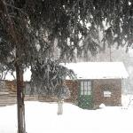 Our cabin (Creekside) in the Snow