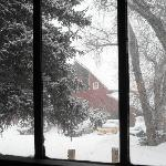 View of the Historic Red Barn in snow taken f/ inside main house