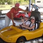 Girls in twin kart....