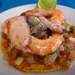 Mixed seafood ceviche tostada