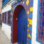 Colourful door overlooking the fishing port