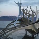 Solfar Suncraft sculpture on the Kollafjörður Bay