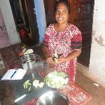 Rani preparing vegetables for dinner