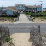view of beach haven from sand dune on beach