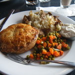 Chicken pot pie with baked potato