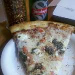 Pizza and Steinlager.