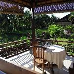Private terrace overlooking rice paddies