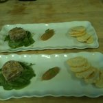 peppercorn pork hock terrine w. watercress salad and onion pear moustrada