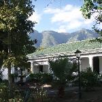 verandah with beautiful mountain backdrop