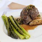 Beef Filet with Asparagus and roasted Fingerling Potatos