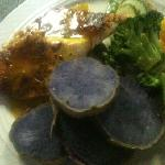blackened Ono with sautéed veggies and purple potatoes.