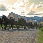 Wagon train headed up the hill