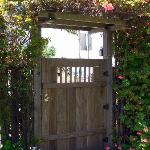 Lots of flowers, including on the gate to enter the Venice Beach House.