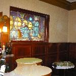 lovely mosaics adorn the breakfast room