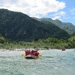 Rafting on the Soca, the rapids are down river!