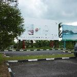 Arrived at Tanjung Pandan airport - nice poster for Hotel Billiton