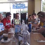Our cycling group inside the cafe