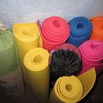 Colourful yoga mats