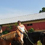 me and my husband back from the trail ride