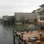 View of the rain-soaked ocean-facing patio