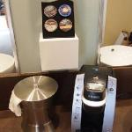 The big surprise, a Keurig coffee maker with the premium stuff!