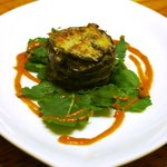 One of our dishes - an aubergine starter