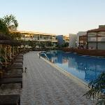 Main swimming pool at sunset.