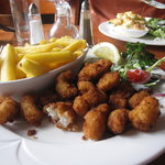 my scampi, with seafood crepe in the background
