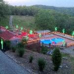 An evening shot of the pool