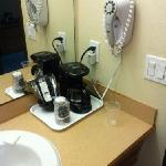 coffee/ blow dryer in bathroom