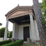 The reconstructed Etruscan temple in the courtyard