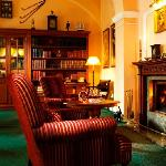 English library with open fireplace
