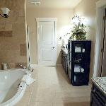 Our suite 3A at Summer Creek Inn, the bathroom with big jetted tub (from another angle; large wa