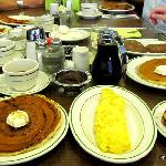 I told you the pancakes were big!  That's a three egg omelet next to it.