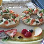 bagel with salmon- great choice!