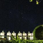 a starry night above the water bungaloes